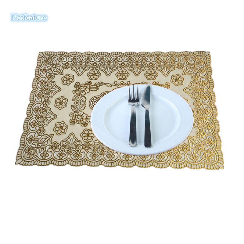 4pcs lot new arrival bronzing pace mat dimensional carved heat resistant placemat table cloth - Heat resistant table cloth ...