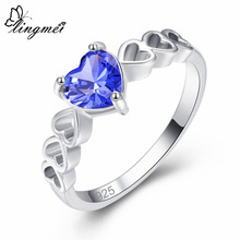 Lingmei Solitaire Style Heart Silver Jewelry Wedding Blue & Multicolor Green Zircon Ring Size 6 7 8 9 For Women Gift