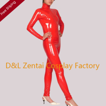 Free Shipping DHL Custom Made Adult Sexy Red Front Zipper Closure PVC Catsuit PV111