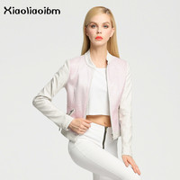 White Faux Leather Jackets Women Coat Female Spring And Autumn Mandarin Collar Pink 2018 New Arrivals