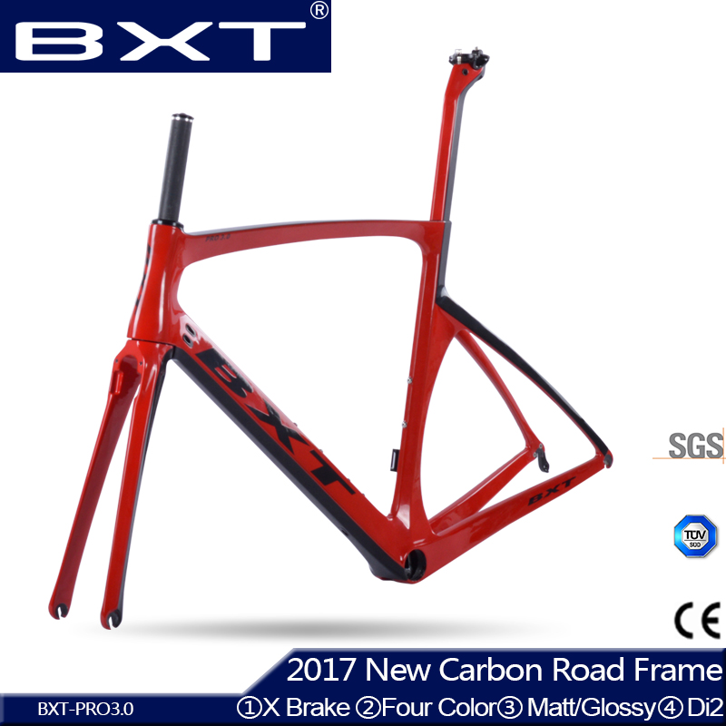 BXT carbon road frame bicycles 2017 X brake Road bike chinese carbon frames cycling bicycle frame with fork carbon road bike DI2 53cm 55cm 58cm fixed gear bike frame matte black bike frame fixie bicycle frame aluminum alloy frame with carbon fork