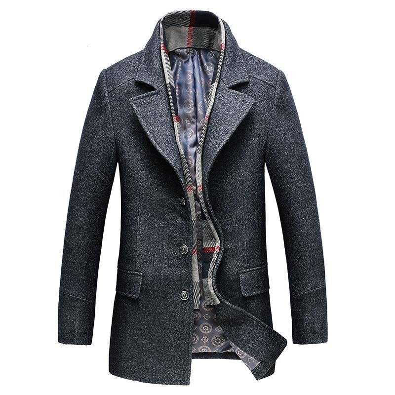 FGKKS Men Winter Wool Coat 2019 Men's Casual Solid Color Warm Thick Wool Blends Woolen Pea Coat Male Trench Coat Overcoat-in Wool & Blends from Men's Clothing    3