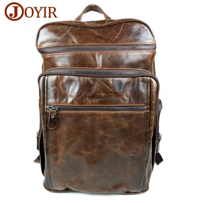 JOYIR 2017 Fashion Cowhide Wax oil Leather backpack Large capacity font b bag b font Zipper