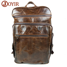 JOYIR 2017 Fashion Cowhide Wax oil Leather backpack Large capacity bag Zipper man backpack travel bag for male 8963