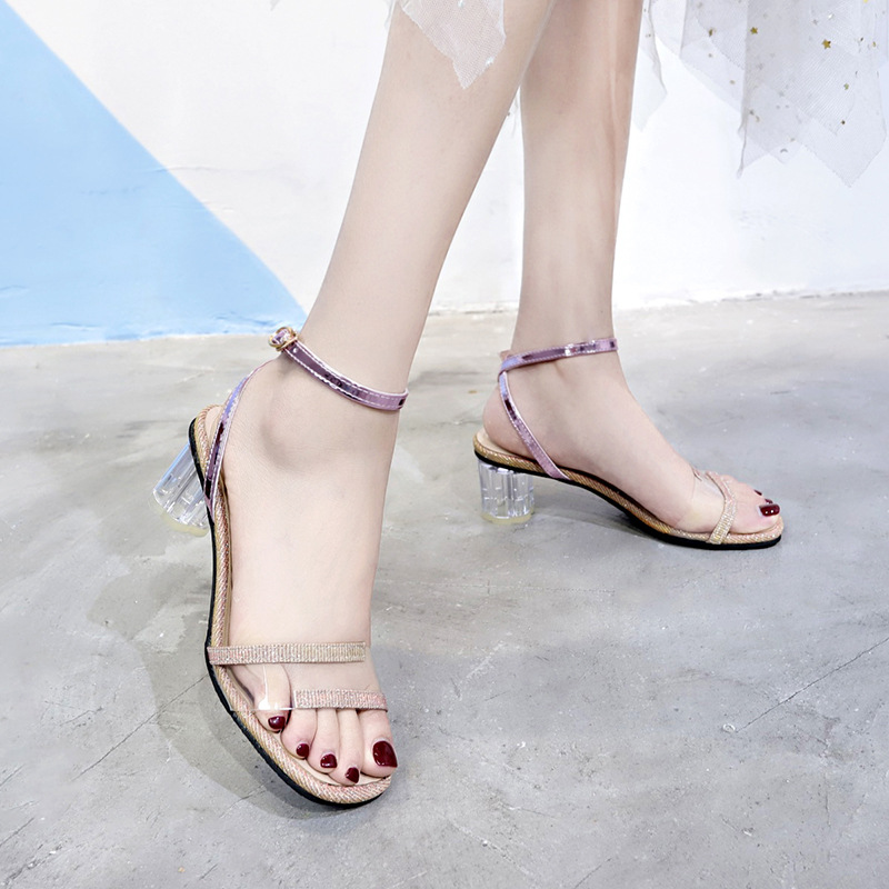 Women Sandals Ankle Strap Perspex High Heels PVC Clear Crystal Concise Classic Buckle Strap High Quality Shoes