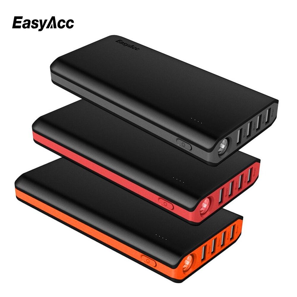 Batterie externe 20000 mah, batterie externe Easyacc 18650 avec lampes de poche et 4 double chargeur de Port USB pour iPhone X 8 7 Samsung Xiaomi
