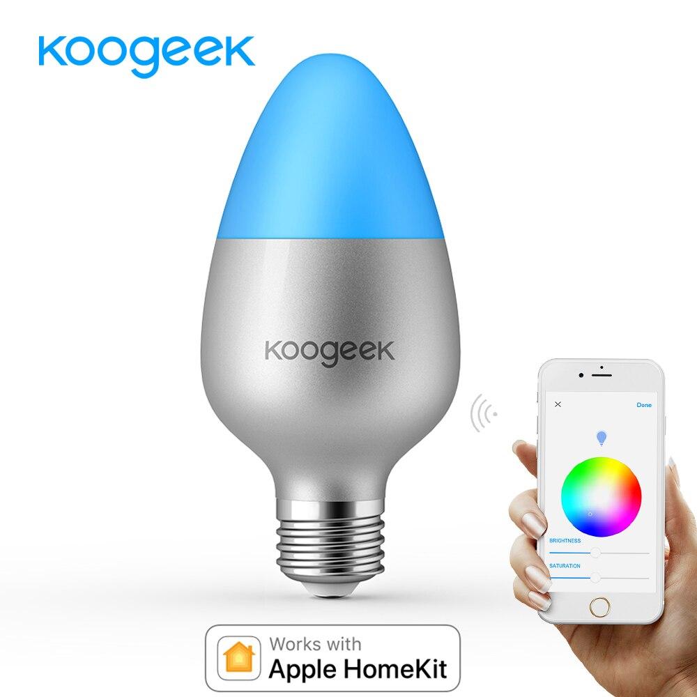 Koogeek E26 E27 8 w WiFi LED Lumière Ampoule Changement de Couleur Dimmable pour Apple HomeKit Siri Maison App Télécommande [seulement pour IOS]