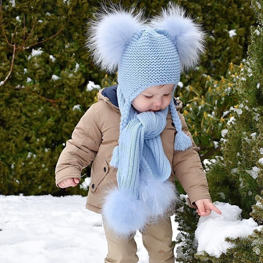 Kids Winter Hat And Scarf Set For Children Girls Boys Luxury Warm Crochet Beanie Set Real Raccoon Fur Pompom Cap And Scarf Set