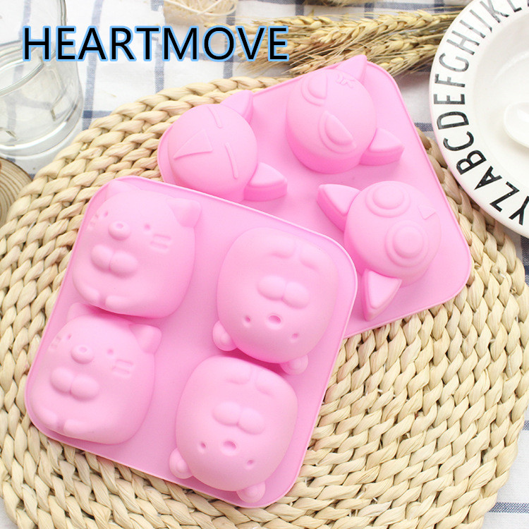 Bakeware Cake Molds 2 Design Mouse Silicone Mold Cute Cat Molds For Baking 3d Expression Cat Chocolate Mould Soap Tool Groundhog Tool For Cake 9016