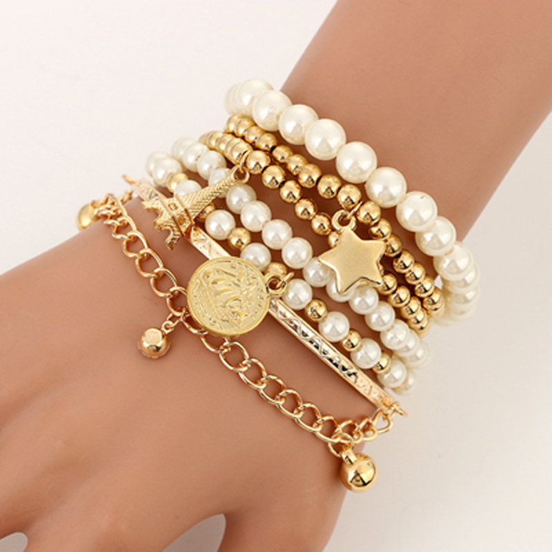 Tocona 6pcs/set Fashion Gold Color Beads Pearl Star Multilayer Beaded Bracelets Set for Women Charm Party Jewelry Gift 5483(China)
