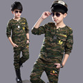 2016 Novas Roupas Crianças Define Meninos purllover treino Outfits Algodão Crianças Hoodies calças de Camuflagem Do Exército Roupas de treinamento terno