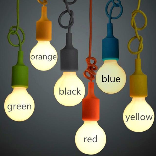 Moderne Bunte E27 Hause Draht Basis 12 Farben Diy Led Lampe Hangen
