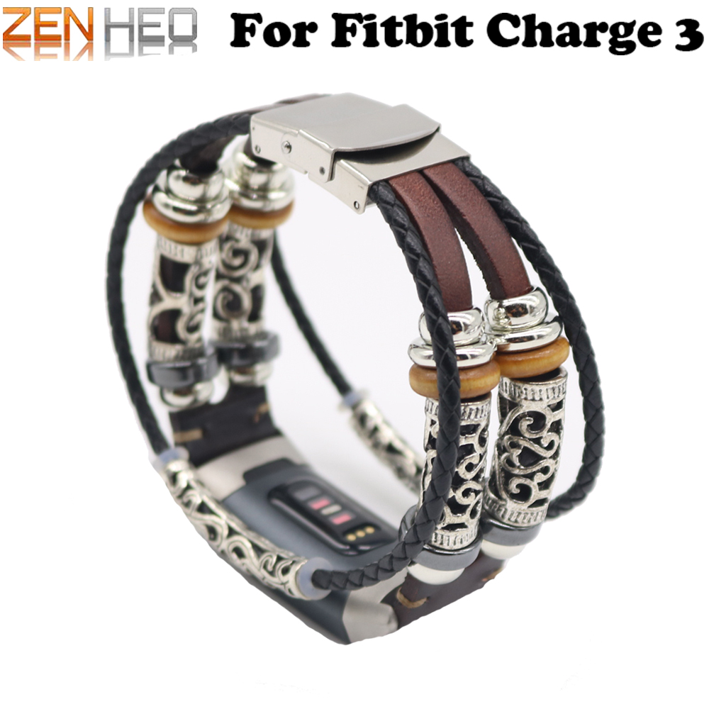 b7f0a9b33 Retro Leather Strap Bracelet for Fitbit Charge 3 Band Replacement Watch  Band for Fitbit Charge 3