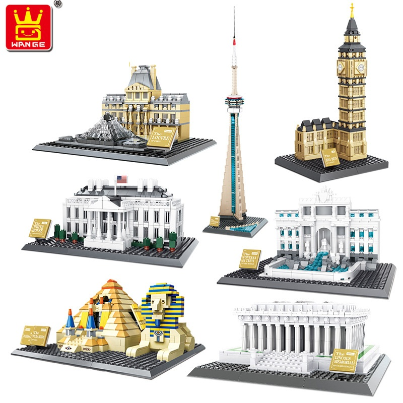 Wange Blocks World Architecture Building Blocks Trevi Fountain Model pyramid Educational Toys for Children Gifts 4210-4216 loz blocks architecture series the white house juguetes trevi fountain mini diamond blocks compatible educational lepins toy