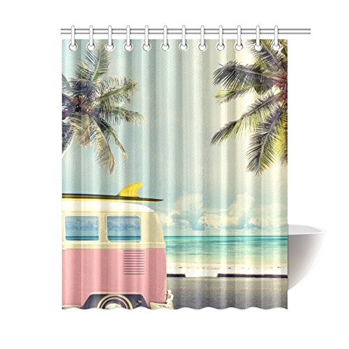 NANAZ Custom Vintage Car In The Beach With A Surfboard Bathroom Waterproof Fabric Shower Curtain Curtains From Home Garden On Aliexpress