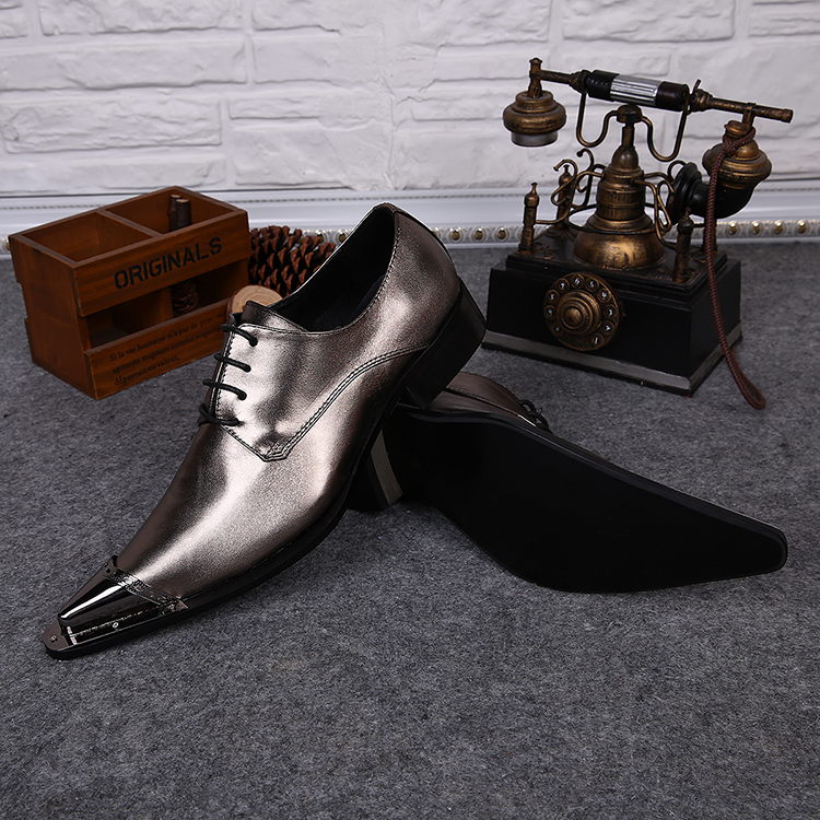 03ae55d0ab0d European Metal Toe Gold Leather Shoes For Men Pointed Toe Men Dress Shoes  Career Men Formal Shoes Lace Up Oxford Shoes For Men-in Oxfords from Shoes  on ...