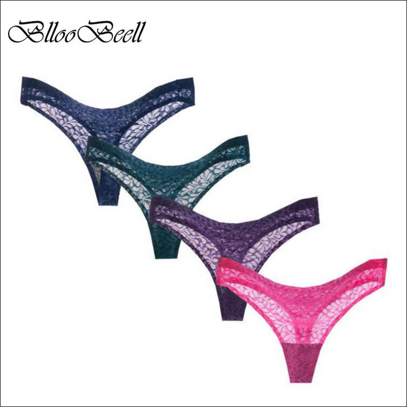 BllooBeell Solid Women Underwear G String Seamless Women 39 s Panties Ladies Briefs Sexy Lace Thong L XL XXL T Word Pants 4pcs lot in women 39 s panties from Underwear amp Sleepwears