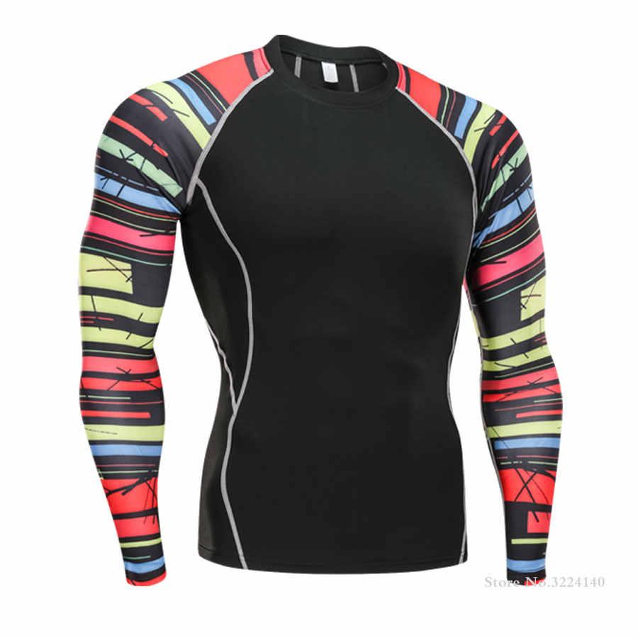 2019New MMA Rashgard camisa de compresión hombres de manga larga Fitness correr deportes camiseta gimnasio Crossfit fútbol camiseta camuflaje camiseta hombres