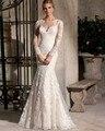 Classic Designer Clear Beading Tulle Mermaid Wedding Dresses 2016 Long Sleeve Embroidery Appliques Crystal Vestidos De Novias
