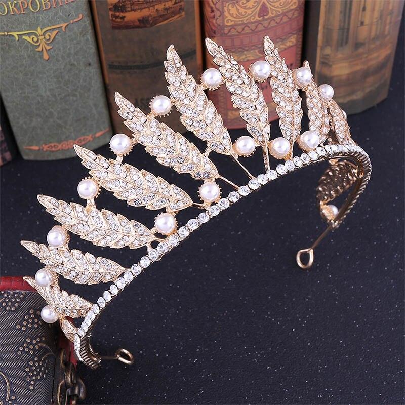 Silver/Gold Leaves Princess Tiaras Crowns Hair Jewelry Rhinestone Pearl Baroque Bridal Headband Headpiece Wedding Accessories LB