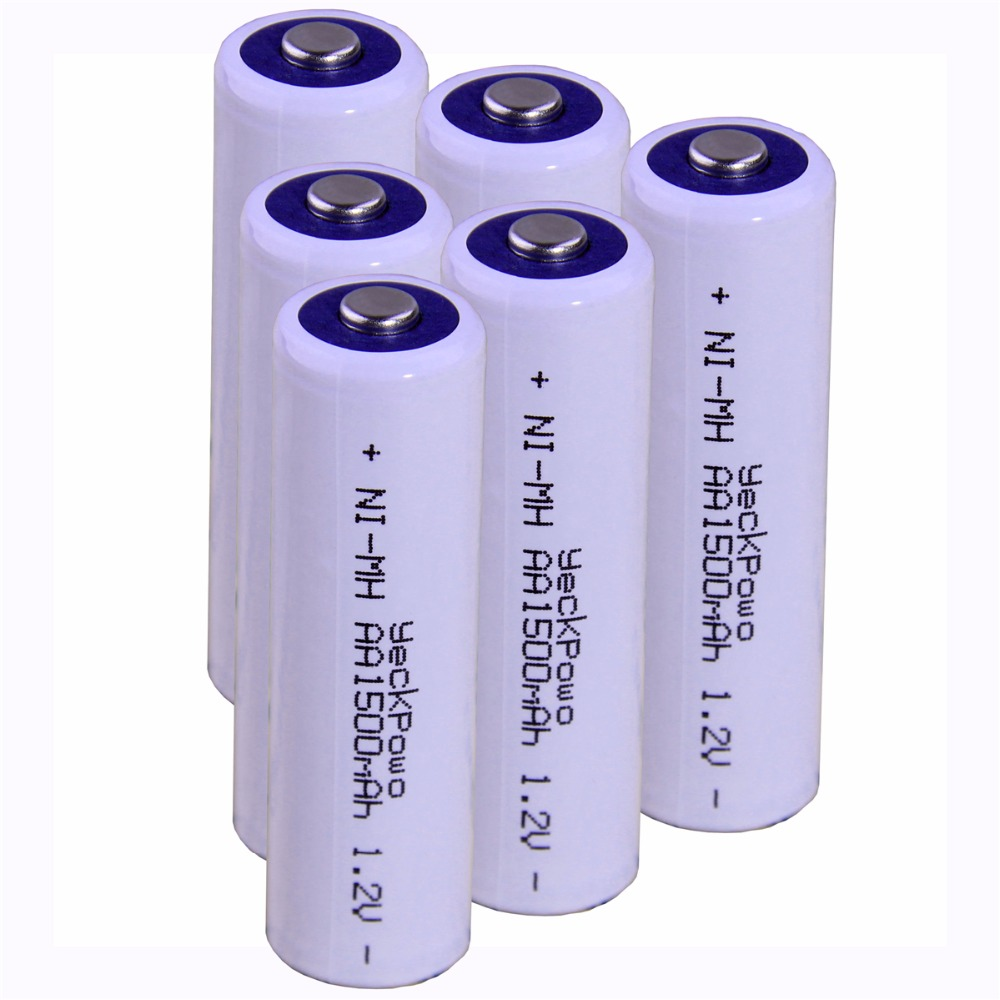 Real capacity! 6 pcs AA 1.2V NIMH AA rechargeable AA battery 1500mah YECKPOWO for camera razor toy remote control flashlight