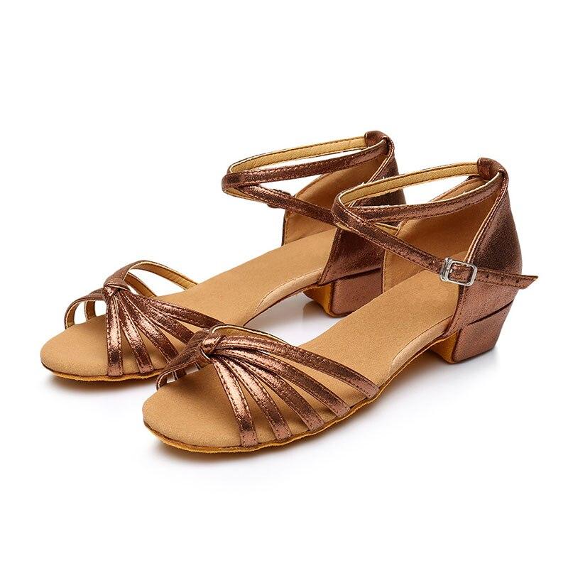 Girls Children Women Ballroom Party Latin Tango Waltz Dance Shoes Low Heel Open Toe Salsa Dancing Shoes Sandals