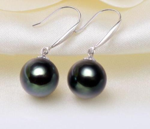 a pair of natural 11-12mm tahitian black green pearl earrings 14K/20 White Gold цена 2017