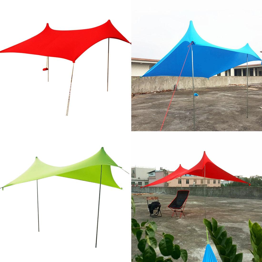 Haute qualité plage parasol abri soleil tente de plage avec sacs de sable ancres avec 2 pôles gratuits qualité Lycra tissu