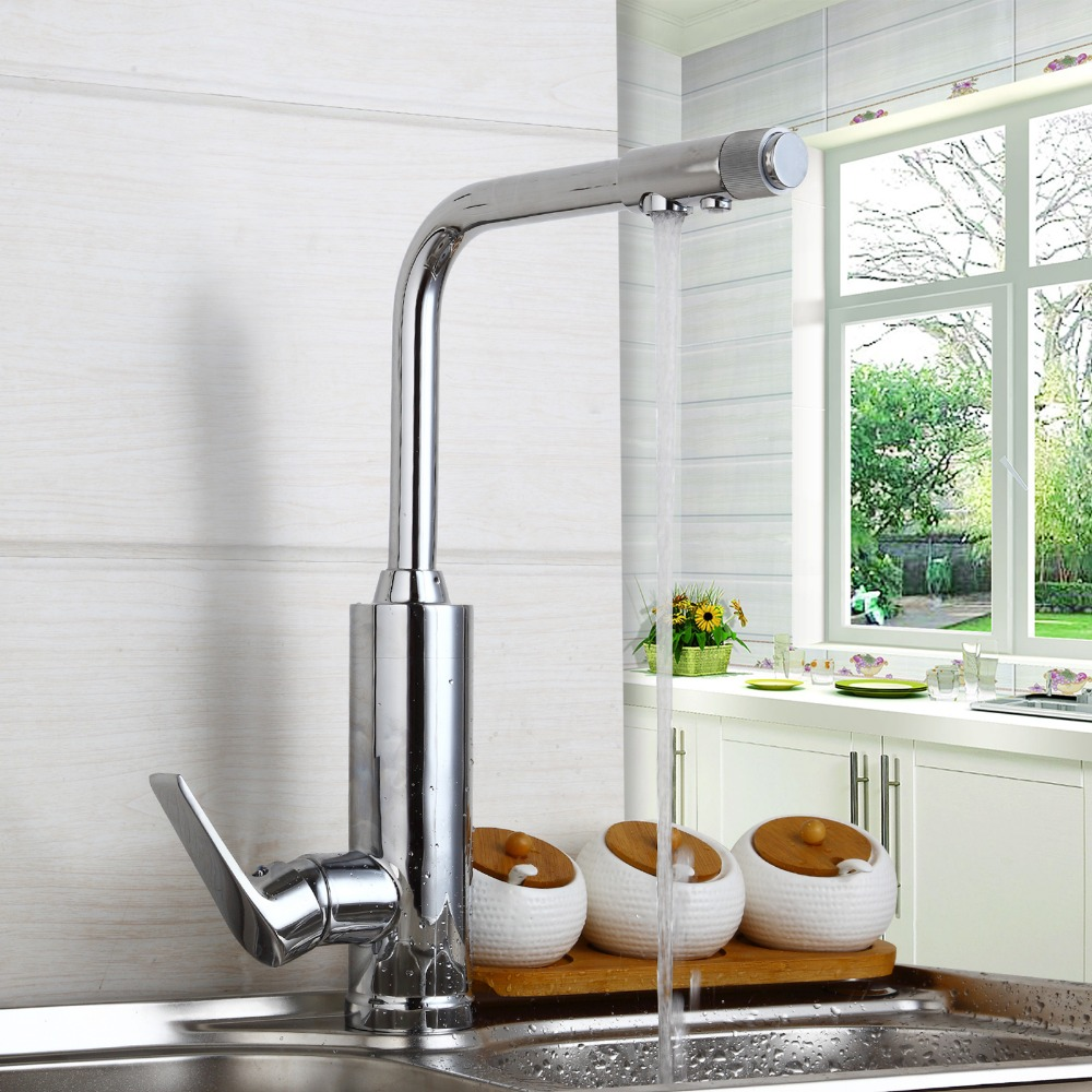 Kitchen faucet Sink mixer Faucet Deck Mount Single Handle Dual Sprayer Hot Cold Mixer Water Taps Water purifier Kitchen Faucets deck mount creative design basin sink faucet single handle chrome hot cold water vanity sink mixer taps