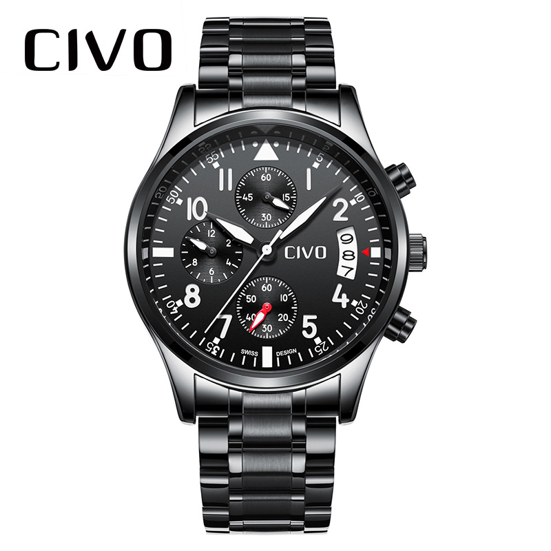 CIVO Military Sports Watch Men Waterproof Analogue Watches Gents Date Calendar Relogio Masculino Black Blue Quartz Watch For Men fashion casual watch men civo waterproof date calendar analogue quartz men wrist watch brown genuine leather watch for men clock