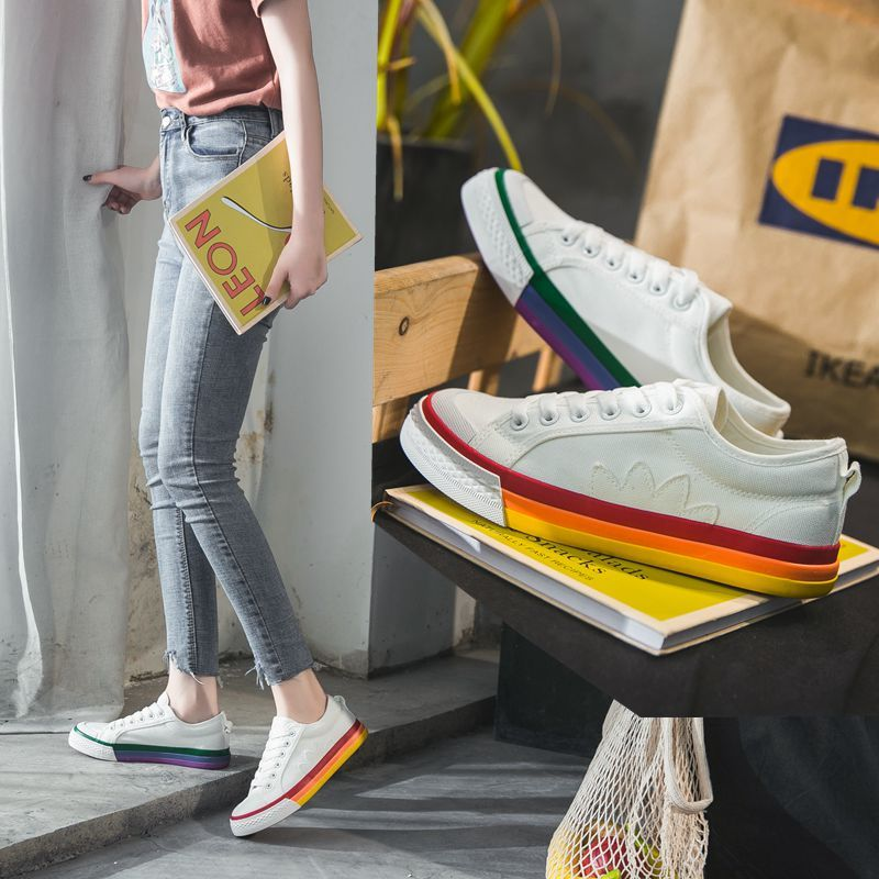 ROMMEDAL Rainbow Canvas Female Summer Breathable Shoes Woman Student Korean Edition Mandarin Duck Stitching Leisure Soft Shoes
