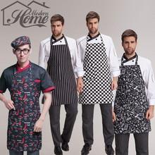 Adjustable Stripe Bib Apron Chef Waiter Kitchen Cook Kitchen Apron With 2 Pockets Tool Polyester Avental Delantal For Man Woman