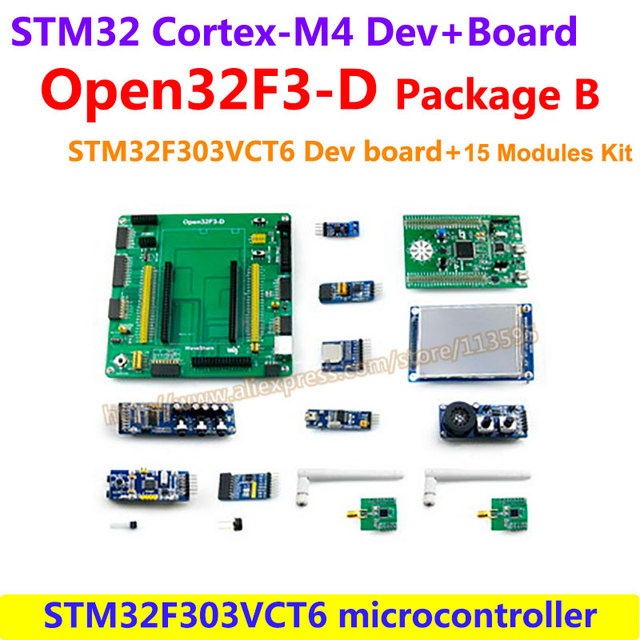 US $108 66 |STM32F3DISCOVERY STM32F303VCT6 ARM Cortex M4 STM32 Development  Board Open32F3 D Standard +15 Modules Kit = Open32F3 D Package B-in Demo