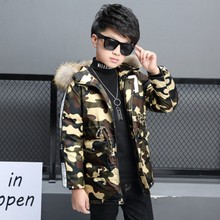 New  Boys Winter Jacket Camouflage Hooded Coat For Kids Veste Enfant Garcon