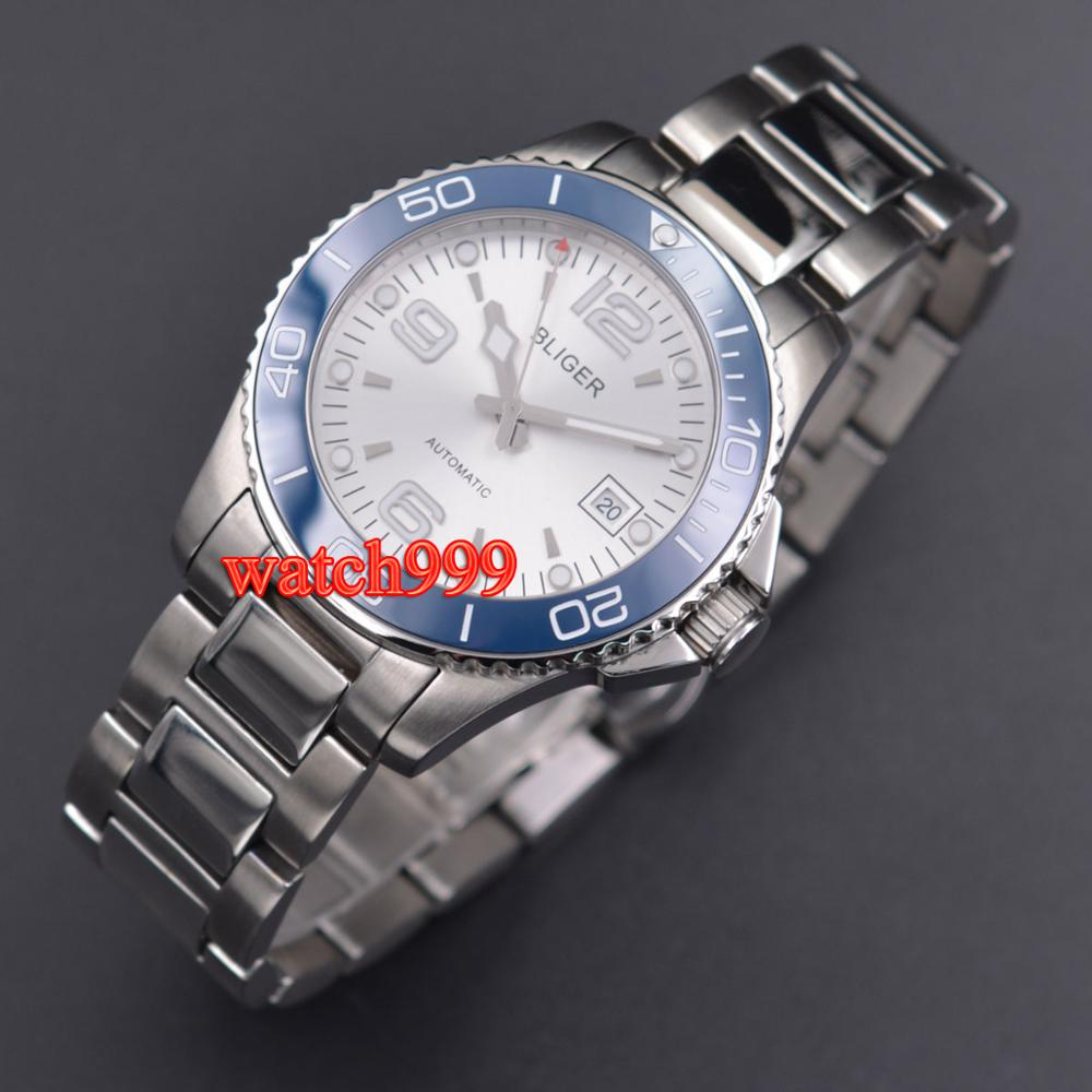 40mm BLIGER Mechanical watches solid case Sapphire crystal Ceramic bezel automatic mens watch Mechanical Watches     - title=