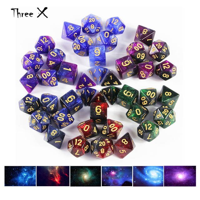 Top Grade 6 color Creative Universe Galaxy Dice Set of D4-D20 with  Mysterious Royal Glitter Powder Amazing Effect for DND RPG 456659a6aefd