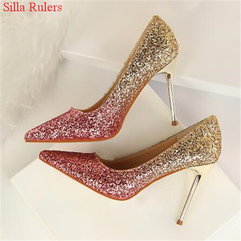 Bling Bling Paillette Women Pumps Female Dress Wedding Shoes Woman High Heels Rose Gold Silver Fashion Shoes Pointed Toe Pumps