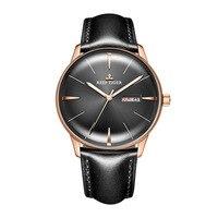 Риф Тигр Аврора Serier RGA8238 Для мужчин модные Бизнес ультра тонкий Dual календарь циферблат автоматические механические наручные часы кожа