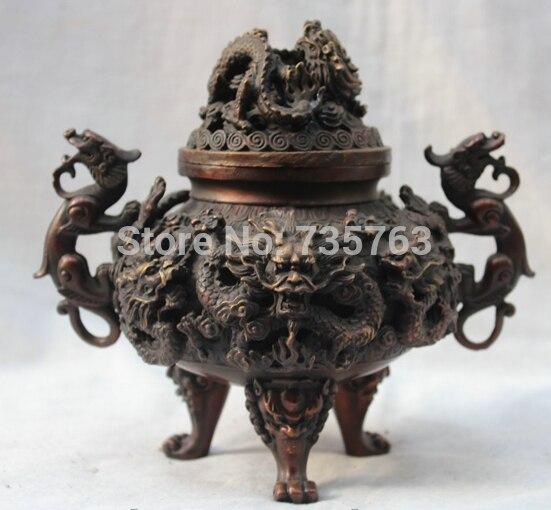 Xiuli 00553 Китай Китайский Бронзовый Фэншуй 9 Драконов играть в мяч статуя Ладан курильница