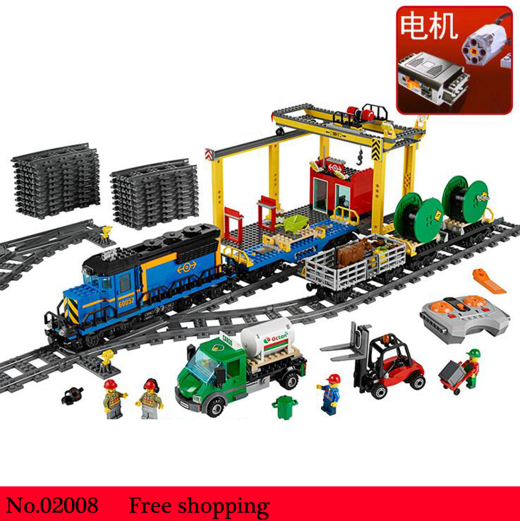 02008 City Series the Cargo Train Set Building Blocks Bricks LegoINGlys 60052 RC Train Children Educational Toys Gift City