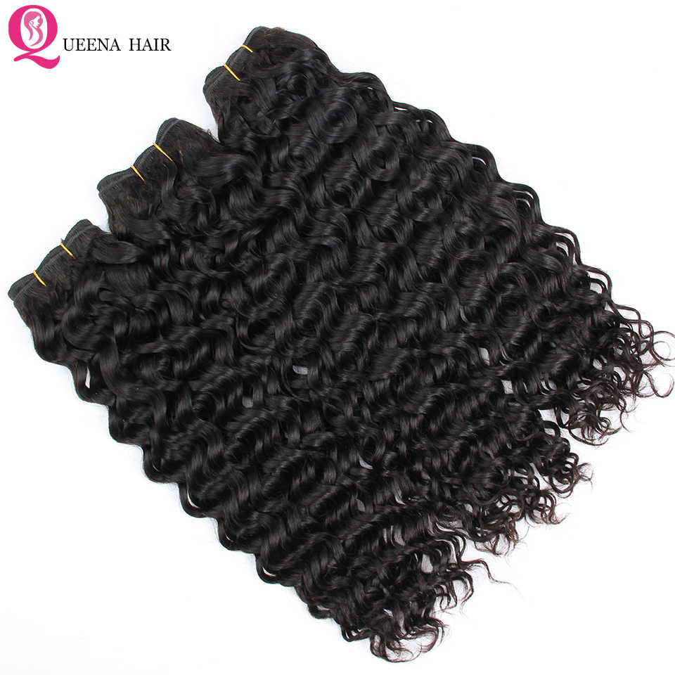 Queena Raw Indian Virgin Hair Water Wave Bundles 7A Natural Color 100% Unprocessed Remy Human Hair Weave 3/4 Bundles Deals Thick