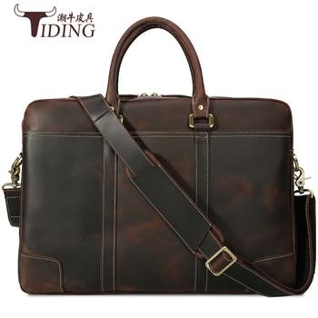 17 Laptop Mens Briefcase Travel  Bags Handbags Genuine Leather 2018 Male Business Tote Large Capacity Weekend Bag