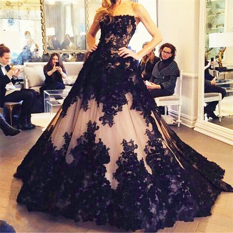 111f84c86a3b Elegant Sheer 2017 Prom Dresses Long Formal Ball Gown Black Appliques Lace  Pink Tulle Lace Up Long Evening Pageant Dress