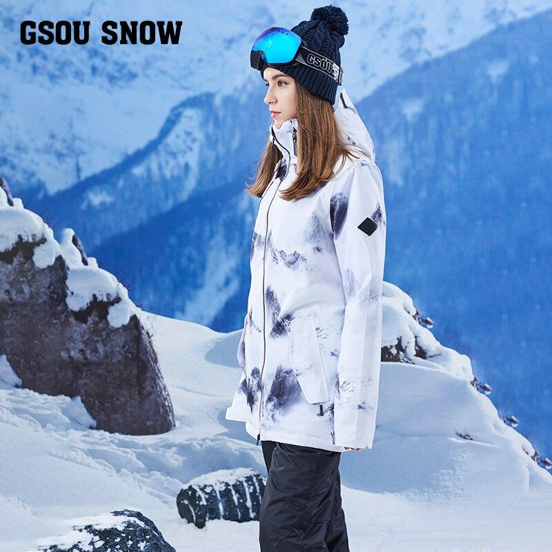 Gsou Снежный одноплатный водонепроницаемый ветрозащитный Теплый зимний длинный лыжный костюм женский костюм для взрослых бренд - 4