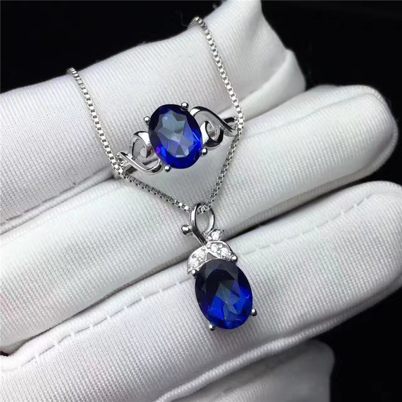 100% Natural Gemstone Fine Jewelry Sets For Women Sterling Silver Ring Pendants Blue Tanzanite Oval Necklaces 2PCS Set CCS003-6