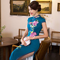 The Super Quality Double Restoring Long Cheongsams Flowers Embroidery Oriental Styled Dresses Qipao Women Traditional Dress