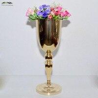 12 шт./лот серебристого металла свадебные Ваза таблице центральным для Mariage металла ваза цветы Вазы горшки для Свадебные украшения 18