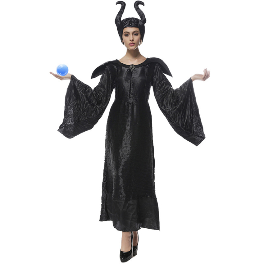 Us 23 18 50 Off New Maleficent Costume Adult Women Halloween Party Witch Cosplay Fairy Tale Curse Witchcraft Black Dress Female Clothes In Movie