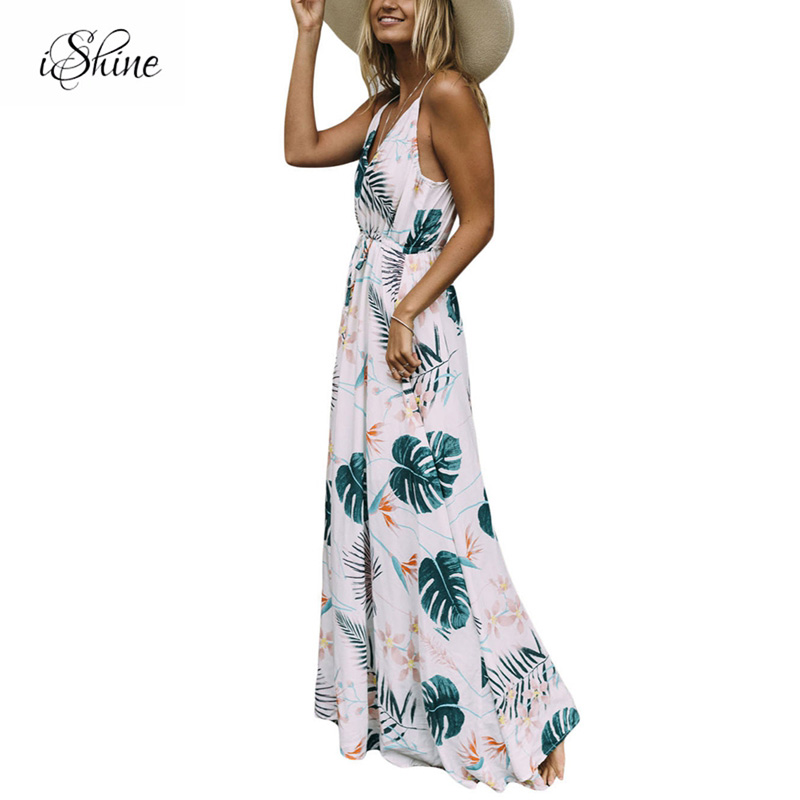 2018 Bohemia Seaside Beach Dress Women Ladies Palm Leave Print Halter Strap Off Shoulder Self Tie Maxi Dresses Summer Vestidos