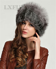 Luxury Womens Real 100% Fox Fur Hat with Import PU Leather Ladies Fox Fur Winter Solid Cap LX00009-2